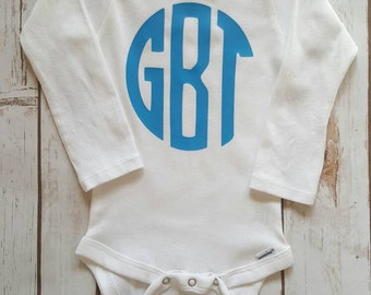 Monogram Bodysuit, Onesie Monogram, Boy Monogram Onesie, Girl Monogram Onesie, Monogrammed Onesie