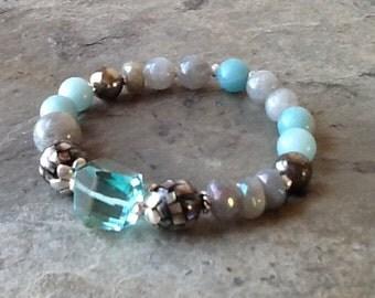 Aqua Blue Quartz Mixed Gemstone Stretch Bracelet