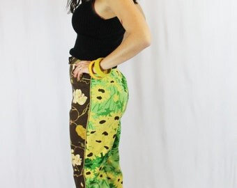 Awesome Double Printed 90s Summery Capri Pants Black Eyed Susan Sunflowers Earth Tone Garden Girl