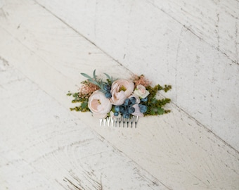 Romantic hair comb Peony and blueberries Flower hair comb Hair comb inspired by autumn  Wedding comb Bridal hair fashion accessories