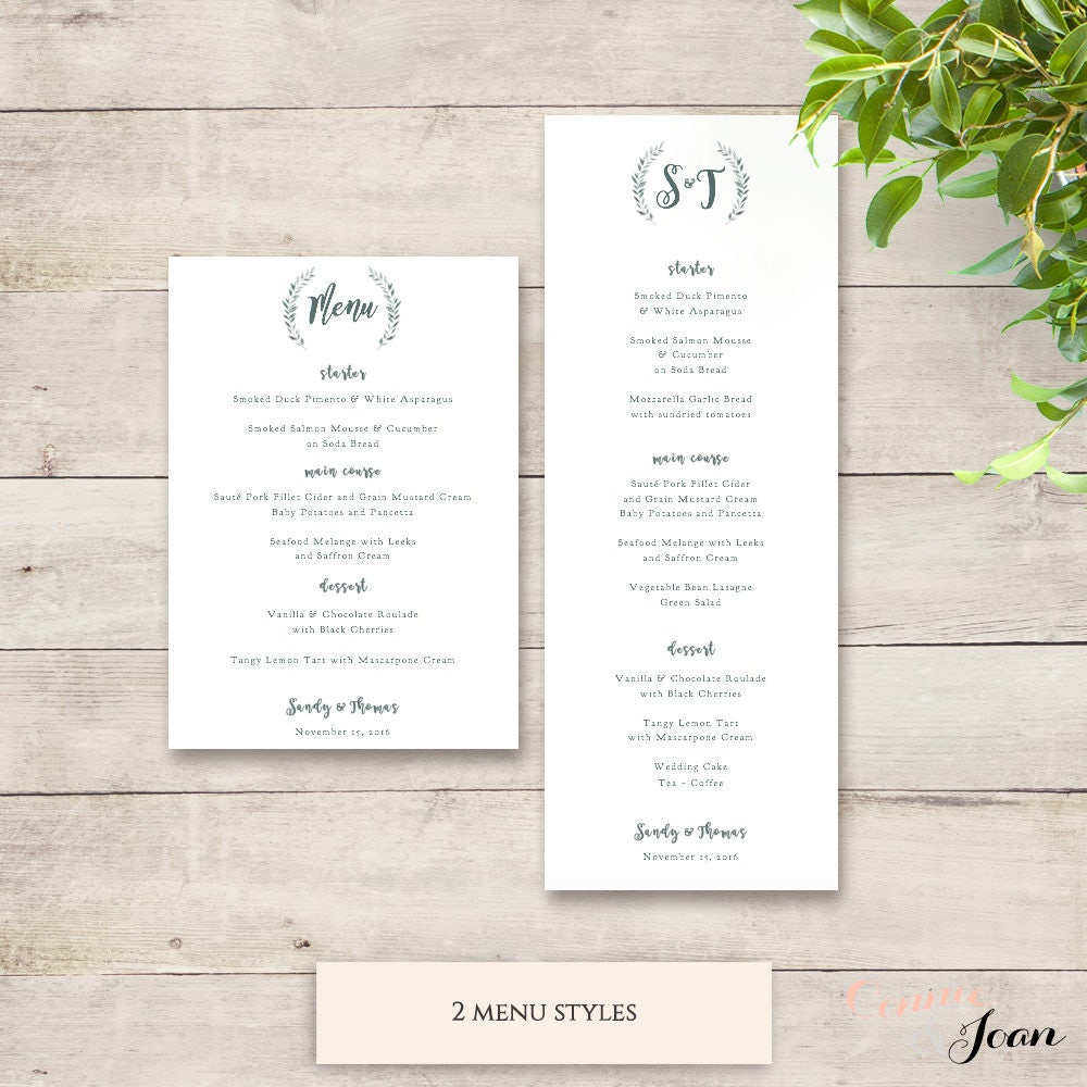wedding menu template rustic printable menu long and 5x7. Black Bedroom Furniture Sets. Home Design Ideas