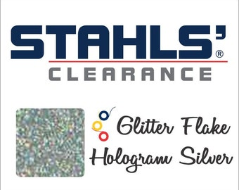 "7"" Stahls' Glitter Flake - Craft Roll - Iron-On  Heat Transfer Vinyl - HTV - Hologram Silver"
