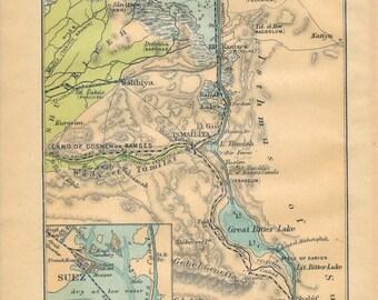 1907 Suez Canal Egypt Antique Map