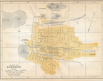 1933 Durango Mexico Antique Map