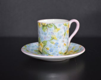 Miniature Demitasse Shelley England Cup and Saucer RARE Primrose Chintz Mid Century English Porcelain 13586 Pattern Fine Bone China