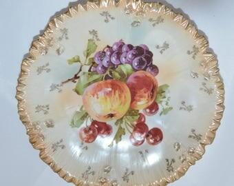 Antique RS Prussia Plate Mold 211a Fruit Decor German Porcelain Art Nouveau Period RSP Pie Border Crimp Design Fruit I