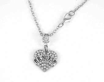 ER Nurse Jewelry er Nurse Gift Emergency Room Nurse Hospital Tramma Triage Nurse charm Necklace Nurse gift RN gift LPN gift Diamond Cut