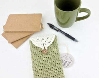 Cotton Phone Case iPhone Sleeve Sunglasses Case Sage Green Pouch Large Smartphone Wallet Handmade Crochet Cotton Case Glasses Case iPhone 7