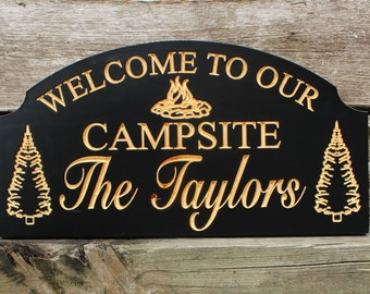 Welcome to our campsite-Personalized camping sign-custom RV sign-CARVED camping sign-camping gift-wood campsite sign-campfire-camping family