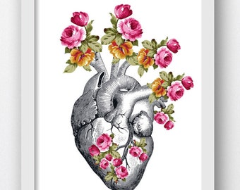 Anatomical Heart With Flowers, Floral Heart, Heart Art Print, Anatomical Heart, Anatomy Cardiac Print, Downloadable Print, Digital Download