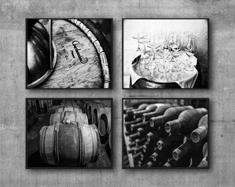 Kitchen Decor Black & White Wine Prints, Wine Photos, Dining Room Decor, Wall Art for Kitchen Wine Photography Set of Four Prints