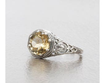 Beautiful Natural Citrine Filigree Vintage Art Deco Style Ring in Sterling Silver