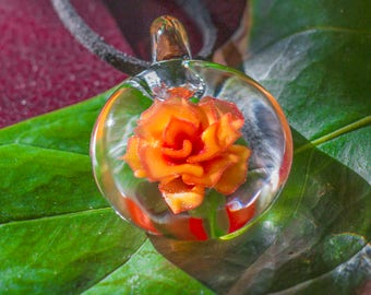 Glass Pendant -  Lampwork Glass Beads -  Blown Glass Necklace -  Blown Glass Flower Pendant - Small Glass Lampwork Pendant - Fire Theme