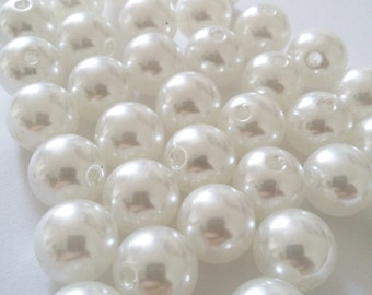 25pcs Acrylic Pearl Beads - 12mm Beads - Pearl Imitation - Plastic Beads - Round Beads - Jewelry Making Supplies - B05255