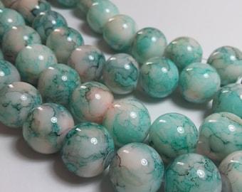 11pcs Pink & Blue Beads - Turquoise Beads - Blue Glass Beads - Boho Beads - 13mm Beads - Large Beads - Blue White Beads - B66074