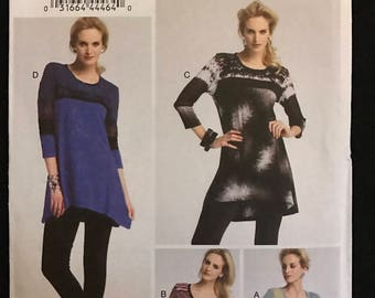 Vogue V8817 - Close Fitting Pullover Top or Tunic with Contrast Fabric Options - Size 8 10 12 14 16