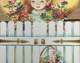 Die Cut Out Get Well Unused 1950's Greeting Card with Envelope Girl in Garden w/ White Picket Fence