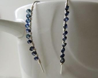 Blue Sapphire earrings - Sapphire earrings - genuine Sapphire - September birthstone - sterling silver threader earrings - dark blue earring