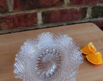 Bright Oval Pressed Glass Sandwich Dish with Flared Edge