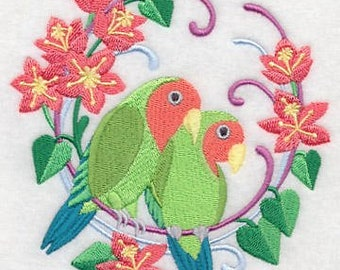 Peach-Faced Lovebirds Wreath, Embroidered flour sack  tea towel/hand towel/dish towel. New colored towels available.