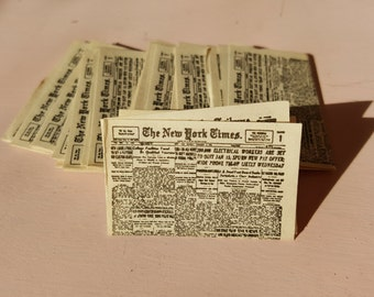 Miniature Dollhouse Newspaper New York Times Chicago Tribune Paper Library Study Mail Magazine 1:12 Scale FS