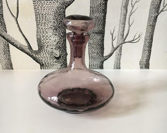 Mid Century Purple Glass Decanter Made in Italy Genie Bottle