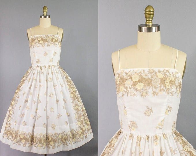 1950s floral sundress/ 50s dandelion print dress/ small