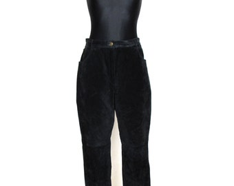 Vintage 80's 90's Black Real Suede High Waisted Tapered Pantsl Pants Size  XL
