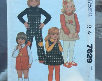 1981 McCall's 7629 toddler's and children's jumper and jumpsuit pattern