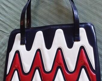 Vintage 1960s Purse Red White and Blue Purse Handbag Color Block Mod Purse Mad Men Purse