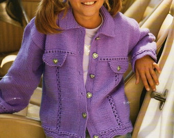 Denim Jacket Knitting Pattern : Girls knitting pattern girls mohair cardigan mohair by Minihobo