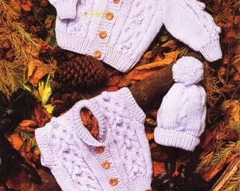 "baby aran jacket gilet hat knitting pattern pdf  cable cardigan waistcoat cap 16-24"" aran worsted 10ply pdf instant download"
