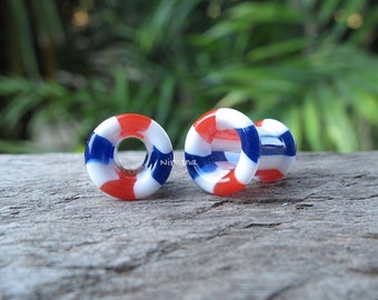 """1 Pair (2 Pieces) Red, White & Blue Parallel Lines Pyrex Glass Tunnels 6g 4g 2g 0G 00g 7/16"""" 1/2"""" 9/16"""" 5/8"""" 4 mm 5 mm -  1"""" Inch (25.4 mm)"""