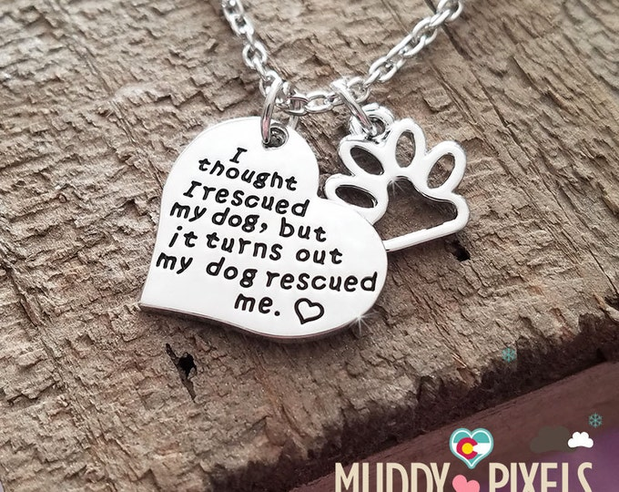 Cute dog heart rescue stamped paw necklace! I thought I rescued my dog..