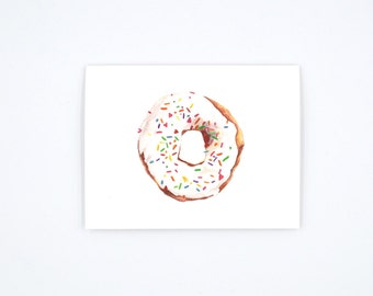 Donut Notecard - Donut Art Card - Donut Illustration - Donut with Sprinkles - Watercolor Notecard -  Blank Notecard - Blank Greeting Card