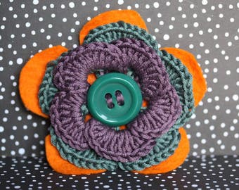 Orange, grey, purple and green handmade flower brooch