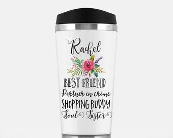 Best Friend Tumbler - Personalized Coffee Travel Mug - Name - Best Friend - Partner in Crime - Coffee Tumbler - Coffee and Tea Mugs & Items