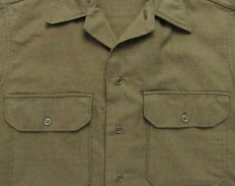 Vintage dated 1943 ~  US Army wool Flannel Shirt 14 1/2 - 33 ~ S ~ OD ~ Military Uniform ~ WWII ~ 1940s