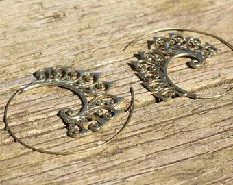 Brass gypsy earrings, boho earrings, hoop earrings, ethnic earrings, tribal earrings womens, brass earrings for her, gypsy earrings womens