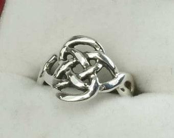 Vintage Open Work Sterling Silver Celtic Knot Statement Ring Size 4.5