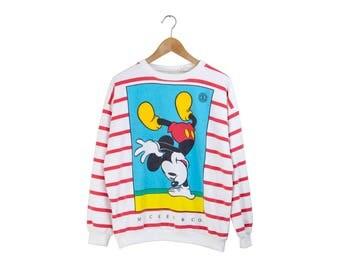 RAYAS jersey de MICKEY / / mickey mouse jumper / Jersey disney / blanco / azul / rojo / rayas verticales de mano / vintage / adultos y pequeños de los años 90