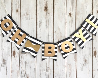 Oh Boy! Gold Black and White Banner / Gold Bow Tie Sign / Baby Shower / New Baby / Welcome Baby / Kate Spade Inspired