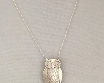 Owl pendant necklace, fine silver with sterling silver chain