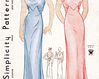 1930s 30s pattern vintage lingerie evening slip dress negligee bust 38 repro reproduction