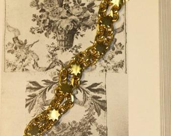 Vintage Gold Tone Heavy Double Rolo Chain Link Bracelet