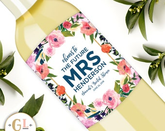 Bridal Shower Wine Labels, Cheers to the Future Mrs Bachelorette Label, Boho Bridal Shower Champagne Label, Bridal Shower Favors, Hens Party