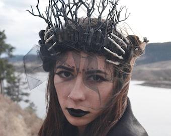 Black Witch Crown, Demon Festival Headdress, Black Quartz Crown