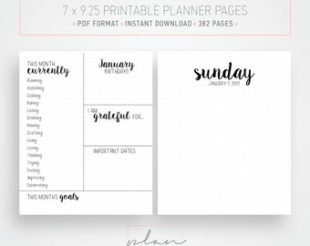 Printable 2017 Planner, Dotted pages, Bullet journal, Printable organizer, Fit Mambi Classic, Minimal planner pages, Fit Happy planner