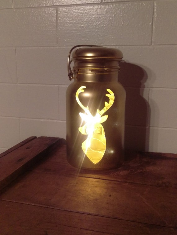 Upcycled Vintage Deer with Antlers Quart Mason Jar Light with