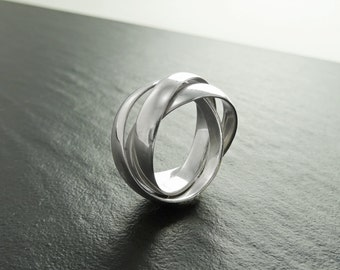 Wide Silver Rolling Ring, Forged Sterling Silver Rings, Interlocking Ring, Trinity Ring, Russian Wedding Ring, Triple Rolling Band, Large